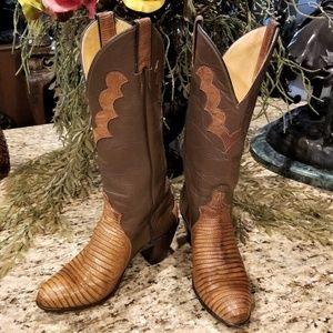 JUSTIN High Heeled Lizard Western Cowboy Boots 7